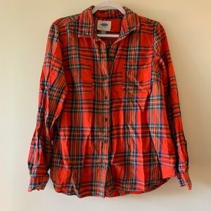 Old Navy Holiday Festive Plaid Button Down L